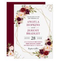 Blush Burgundy Floral Modern Gold Frame Wedding Card
