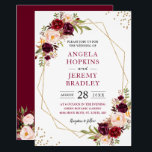 "Blush Burgundy Floral Modern Gold Frame Wedding Invitation<br><div class=""desc"">Geometric Themed Invitations have become more and more popular. Create the perfect Wedding invite with this &quot;Blush Burgundy Floral Geometric Gold Frame&quot; template. This high-quality and modern design is easy to customize to match your wedding colors, styles and theme. (1) For further customization, please click the &quot;customize further&quot; link and...</div>"