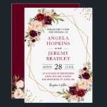 "Blush Burgundy Floral Modern Gold Frame Wedding Invitation<br><div class=""desc"">Geometric Themed Invitations have become more and more popular. Create the perfect Wedding invite with this ""Blush Burgundy Floral Geometric Gold Frame"" template. This high-quality and modern design is easy to customize to match your wedding colors, styles and theme. (1) For further customization, please click the ""customize further"" link and...</div>"