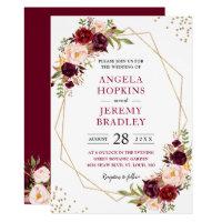 Blush Burgundy Fl Modern Gold Frame Wedding Invitations
