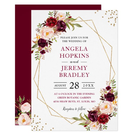 Blush Burgundy Floral Modern Gold Frame Wedding Invitation | Zazzle.com