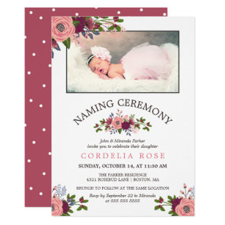 Blush & Burgundy Flowers - Naming Ceremony Card