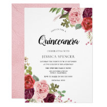 Blush & Burgundy Flowers Trendy Quinceanera Invite