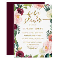 Blush Burgundy Gold Floral Baby Shower Invite