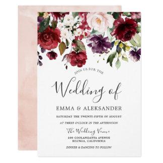 Blush Burgundy Purple Watercolor Floral Wedding Invitation