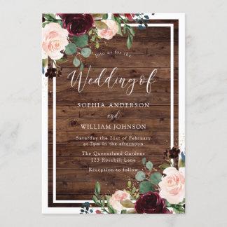 Blush & Burgundy Red Flowers Rustic Wood Wedding Invitation