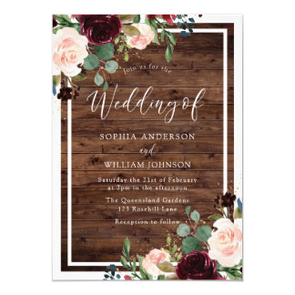 Blush & Burgundy Red Flowers Rustic Wood Wedding Invitation