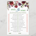 """Blush Burgundy Watercolor Bloom Bridal Shower Game<br><div class=""""desc"""">Enjoy your bridal shower with these funny games. Personalize with the bride to be's name and date of shower.  If you need help,  contact me please.</div>"""