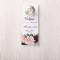 Blush Burgundy Wedding Door Hanger Do Not Disturb