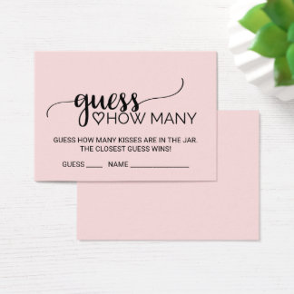 Blush Calligraphy Guess How Many Kisses Game Cards