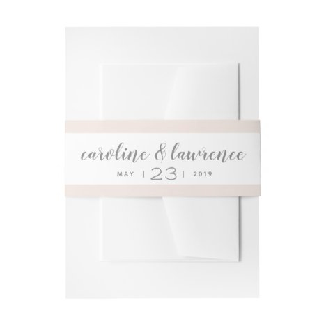 Blush Calligraphy Wedding Band with Date Invitation Belly Band