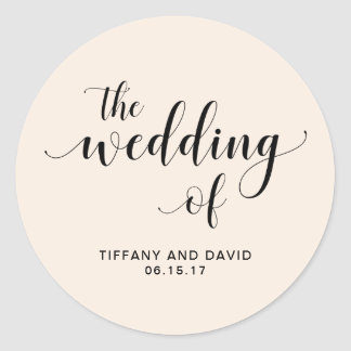 Blush Cascade | Wedding Classic Round Sticker