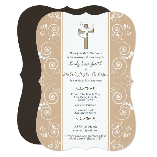 Blush Catholic Wedding Invites Dove Bible Verse