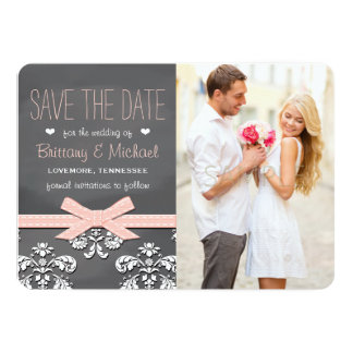 Blush Chalkboard Lace and Bow Save the Date Card