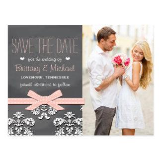 Blush Chalkboard Lace Bow Save the Date Postcard