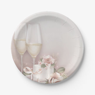 Blush Champagne and Cake 7 Inch Paper Plate
