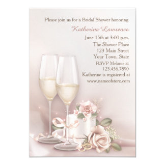 Blush Champagne and Cake, Bridal Shower Card