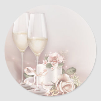 Blush Champagne and Cake Classic Round Sticker