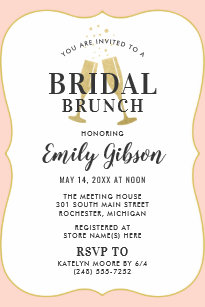 blush champagne toast with stripes bridal brunch invitation