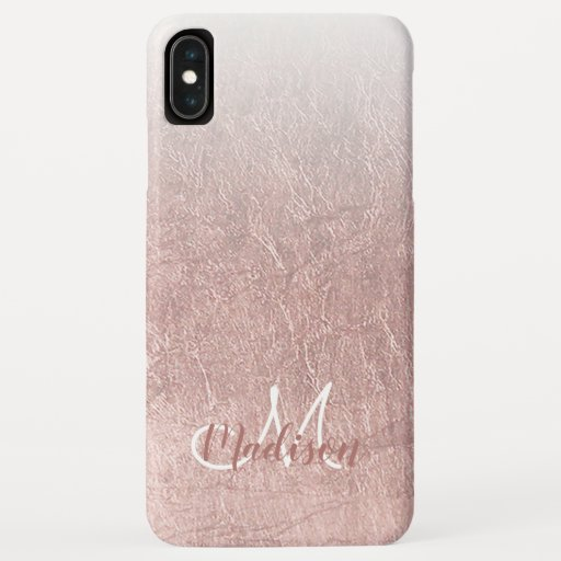 Blush chic faux pink rose gold ombre monogram iPhone XS max case