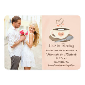 Blush Coffee Cup Monogrammed Heart Save the Date Card