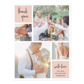 Blush Collage | Wedding Photo Thank You Postcard