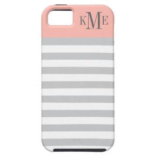 Blush Color Block Monogram   Gray Stripes iPhone 5 Case