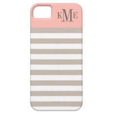 Blush Color Block Monogram | Neutral Stripes Iphone Se/5/5s Case at Zazzle