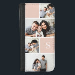 "Blush Colorblock Photo Collage &amp; Monogram iPhone 8/7 Wallet Case<br><div class=""desc"">Personalize this wallet-style case with five favorite photos arranged in a collage layout with alternating squares of millennial blush pink,  and customize with your single initial monogram.</div>"