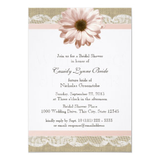 Blush Daisy Country Lace Wedding Shower 5x7 Paper Invitation Card