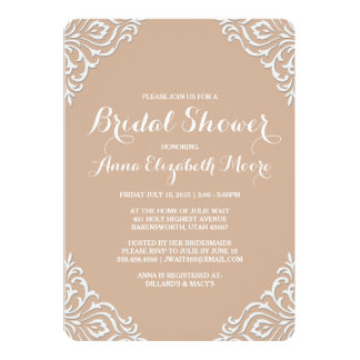 Blush Damask Elegant Bridal Shower Invitation