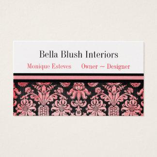 Blush Damask Interior Design : Business Cards