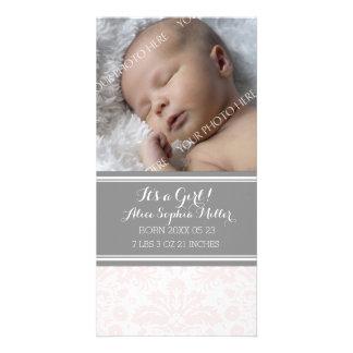 Blush Damask Photo New Baby Birth Announcement