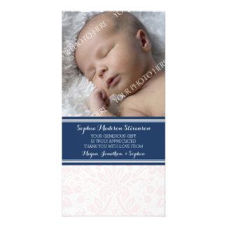 Blush Damask Thank You Baby Shower Photo Cards