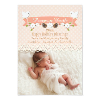 BLUSH DOVE BABY'S 1ST CHRISTMAS HOLIDAY PHOTO CARD PERSONALIZED ANNOUNCEMENTS