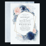 """Blush Dusty and Navy Blue Floral Wedding Invitation<br><div class=""""desc"""">Blush,  dusty blue and navy blue flowers elegant wedding invitations</div>"""