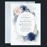 "Blush Dusty and Navy Blue Floral Wedding Invitation<br><div class=""desc"">Blush,  dusty blue and navy blue flowers elegant wedding invitations</div>"