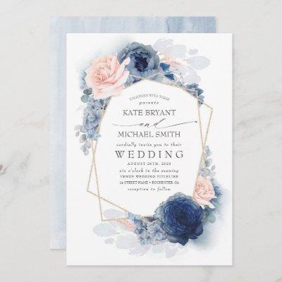 Blush Dusty and Navy Blue Floral Wedding Invitation