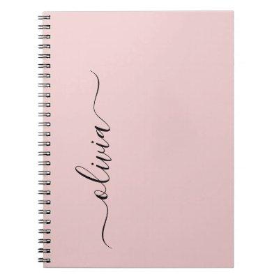 Blush Dusty Pink Modern Script Girly Monogram Name Notebook