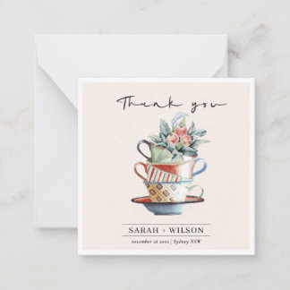 Blush Elegant Stacked Cups Floral Thank You Card