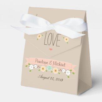 BLUSH FLORAL BOHO WEDDING FAVOR BOX