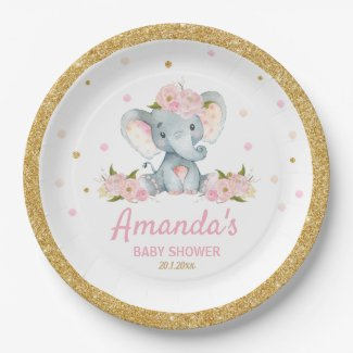 Blush Floral Elephant Baby Shower Girl Paper Plate