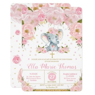 Blush Floral Elephant Baptism Invitations Girl