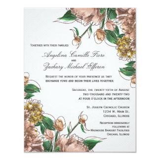 Blush Floral Formal Wedding Invite