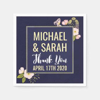 Blush Floral Gold Frame Navy Blue Custom Wedding Paper Napkin