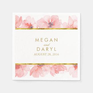 Blush Floral Gold Frame Wedding Napkin