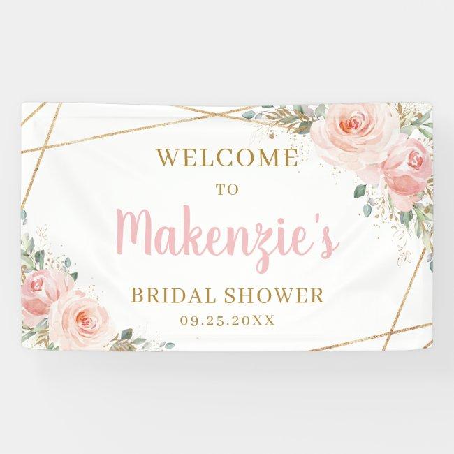 Blush Floral Gold Geometric Bridal Shower Backdrop Banner