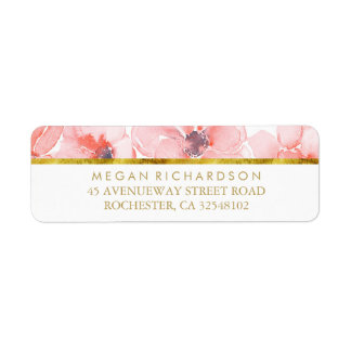 Blush Floral Gold Glitter Watercolor Wedding Label