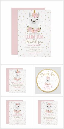 Blush Floral Llama Birthday Party