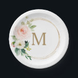 "Blush Floral Monogram Bridal Shower Paper Plate<br><div class=""desc"">These paper plates are perfect for any event!</div>"